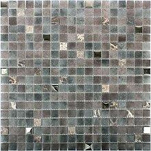 Mosaikfliesen Glas Naturstein Mix Freyland Grau