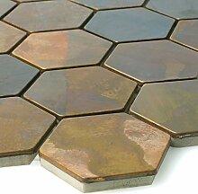 Fliesen-Bord/üre Glas-Mosaik auch als Muster erh/ältlich Glas Keramik Mosaikfliesen Permoser Kupfer Weiss Wandfliesen Ideal f/ür die K/üche und Badezimmer Mosaik-Fliesen