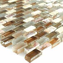 Mosaikfliesen Perlmutt Glas Marmor Braun