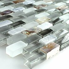 Mosaikfliesen Perlmutt Glas Marmor Grau