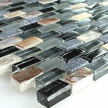 Mosaikfliesen Perlmutt Glas Marmor Schwarz