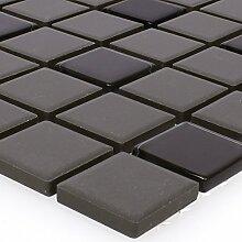 Mosaikfliesen Unglasiert Garden Schwarz Quadrat |
