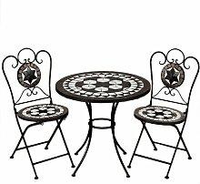 Mosaiksitzgarnitur ORIENTAL 2x Stuhl + 1 Tisch Sitzgruppe Mosaiktisch Mosaikstuhl Gartentisch