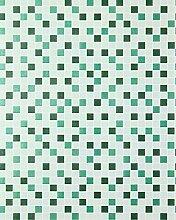 Mosaikstein Tapete Küchentapete EDEM 1022-15 Fliesen Kacheln Tapete mit geprägter Struktur mintgrün türkis smaragdgrün silber
