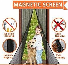 moskitonetz tür, Magnetic Screen Door, Magnet Fliegengitter Tür Insektenschutz, Schwarze (90cm X 210cm)