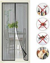 Moskitonetz Tür, Vitutech Fliegengitter Tür Insektenschutz Insektenschutz Magnet Vorhang für Balkontür Wohnzimmer Schiebetür Terrassentür, Kinderleichte Klebemontage ,100 x 220cm (Schwarz)