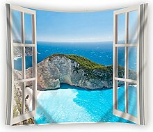 moslion Wand Wandteppich, offene Fenster Beach