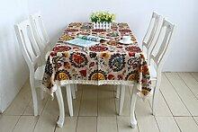 Motif floral style méditerranéen Nappe Couverture Table Luxury Linen Natural Wipe Clean Nappe, 56 pouces par 72 pouces