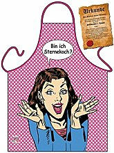 Motiv-Fun/Spaß-Grill/Kochschürze/ Thema Kochen: Bin ich Sternekoch? - inkl. Spaß-Urkunde