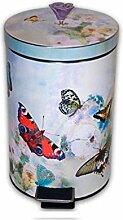 Motiv Treteimer Schmetterlinge Mülleimer Abfalleimer Badeimer Kosmetikeimer 3 Liter