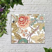 motivX Sonate Wandbriefkasten Briefkasten mit Motiv -Blumenranken Jugendstil- mit Namensschild bunt pulverbeschichte