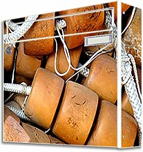 motivX Sonate Wandbriefkasten Briefkasten mit Motiv -Fischernetz- mit Namensschild bunt pulverbeschichte