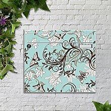 motivX Sonate Wandbriefkasten Briefkasten mit Motiv -Florales in Türkis- mit Namensschild bunt pulverbeschichte