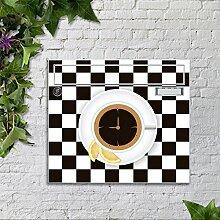 motivX Sonate Wandbriefkasten Briefkasten mit Motiv -Kaffetasse auf Schachbrett- mit Namensschild bunt pulverbeschichte