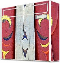 motivX Sonate Wandbriefkasten Briefkasten mit Motiv -Marterpfahl- mit Namensschild bunt pulverbeschichte