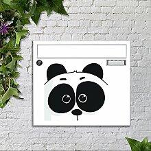 motivX Sonate Wandbriefkasten Briefkasten mit Motiv -Panda Comic- mit Namensschild bunt pulverbeschichte