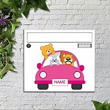 motivX Sonate Wandbriefkasten Briefkasten mit Motiv -Pinkes Auto- mit Namensschild bunt pulverbeschichte