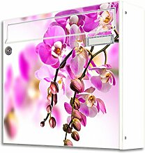 motivX Sonate Wandbriefkasten Briefkasten mit Motiv -rosa Orchidee- mit Namensschild bunt pulverbeschichte