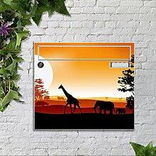 motivX Sonate Wandbriefkasten Briefkasten mit Motiv - Sonnenuntergang Afrika bunt pulverbeschichte