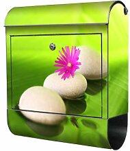 motivX Sonate Wandbriefkasten Briefkasten mit Motiv -Stein mit pinker Blume- mit Namensschild bunt pulverbeschichte