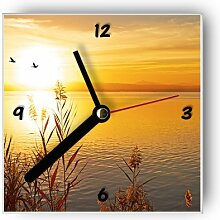 Motivx Wanduhr mit Motiv -Abendsonne am See