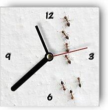 motivX Wanduhr mit Motiv -Ameisen