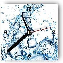 Motivx Wanduhr mit Motiv Blaue Eiswürfel