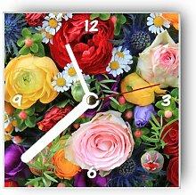 Motivx Wanduhr mit Motiv Blumenstrauß