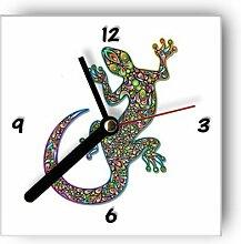 Motivx Wanduhr mit Motiv -Bunter Gecko