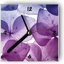 Motivx Wanduhr mit Motiv - Halbtransparente Blumen
