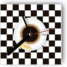 Motivx Wanduhr mit Motiv Kaffeetasse auf Schachbre