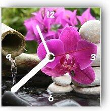 Motivx Wanduhr mit Motiv Orchidee mit Bambus