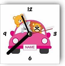 Motivx Wanduhr mit Motiv Pinkes Auto