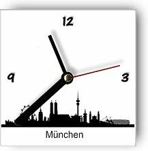 motivX Wanduhr mit Motiv -Silhouette München