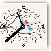 Motivx Wanduhr mit Motiv -Vogelpaar auf Baum