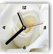 motivX Wanduhr mit Motiv -Weiße Rose