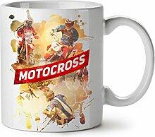 Moto-Cross Drift Auto Auto Moto-Cross Ventilator NEU Weiß Tee Kaffe Keramik Tasse 11 oz   Wellcoda