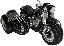 Motorrad mit Beiwagen in Silber/Schwarz, 14,6 cm