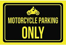 Motorrad Parking Only Print Schwarz Gelb Bild Symbol Auto Lot Outdoor Business Büro Garage Man Cave Schild groß 1