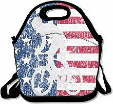 Mountain Bike American Flag Lunch Tote Insulated