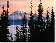 Mountain Bild Badezimmer Fliesen Wand M092. 61x 81,3cm mit (12) 8x 8Keramik Fliesen.