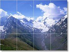 Mountain Bild Badezimmer Fliesen Wand M140. 61x 81,3cm mit (12) 8x 8Keramik Fliesen.