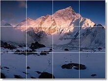Mountain Bild fliesenwandbild M089. 32,4x 43,2cm mit (12) 4,25x 4,25Keramik Fliesen.