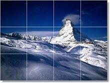 Mountain Bild Keramik fliesenwandbild M074. 61x 81,3cm mit (12) 8x 8Keramik Fliesen.