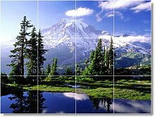 Mountain Bild Rückseite Splash fliesenwandbild M062. 61x 81,3cm mit (12) 8x 8Keramik Fliesen.