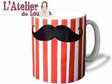 Moustache Schnurrbart mit Zirkus Streifen keramisch Mug Kaffeetasse Kaffeebecher - Originelle Geschenkidee - Spülmaschinefes