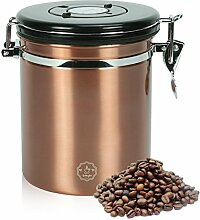 Movaty Kaffeedose Luftdicht,Kaffeebehälter,Kaffeedose Edelstahl Aromadose Vorratsdose Vakuum Dose für Kaffeebohnen, Pulver, Tee, Nüsse, Kakao, 16 OZ