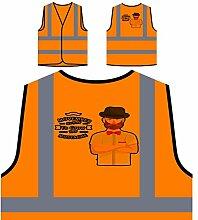 Movember Design Mit Hipster Personalisierte High Visibility Orange Sicherheitsjacke Weste s183vo