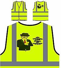 Movember Design Mit Hipster Personalisierte High Visibility Gelbe Sicherheitsjacke Weste s184v