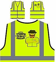 Movember Design Mit Hipster Personalisierte High Visibility Gelbe Sicherheitsjacke Weste s183v